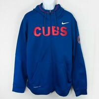 Nike Chicago Cubs Therma Fit Jacket Blue Hooded Zip MLB Baseball Mens XL 0503X