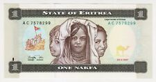 1997 Eritrea 1 Nakfa Unc Paper Money Banknotes Currency