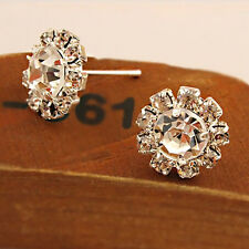 1Paar Ohrstecker Ohrringe Kristall Strass Silber Kugel Mode Ear Stud Earrings