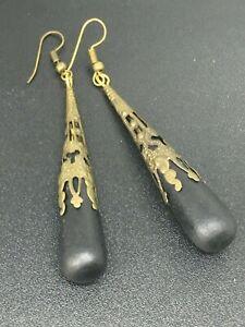 Wooden earrings / Antique bronze filigree wooden bead / drop earrings Ideal gift