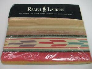 Ralph Lauren MESA AQUA Southwestern Flat Sheet - Queen