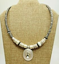 New listing A22) Faux Reptile Necklace w/ Burnished Silver-tone, Glass Beads, & Crystal