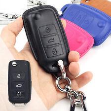 Full Grain Leather VW Volkswagen Golf GTI key chain cover case shell holder FOB
