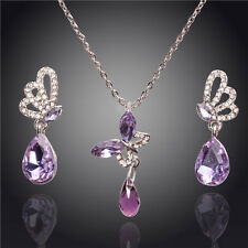 18K WHITE GOLD PLATED PURPLE AUSTRIAN CRYSTAL BUTTERFLY NECKLACE & EARRING SET