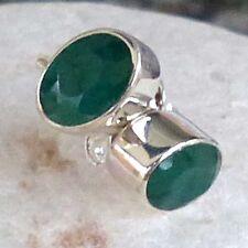 Unbehandelte Ovale Echter Edelsteine-Ohrschmuck mit Smaragd