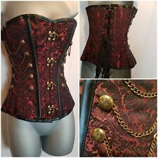 """Corset Story Red Steampunk Cord Lacing Shapewear Brocade With Chains Corset 22"""""""