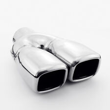 "Twin Square Out Exhaust Tip 2.25"" in 9"" Long Dual Wall Slanted Stainless Steel"