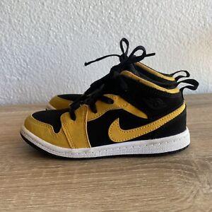 Nike Air Retro Jordan 1 Mid TD Reverse New Love Size 10C Yellow Black 640735-071