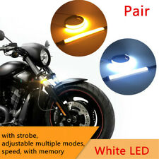 2x Universal Motorcycle Fork Turn Signal Light LED Strips Strobe Adjustable Mode