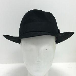 Vintage Christys' Fedora Hat 55cm Black Fine Fur Felt Hand Classic Smart 175024