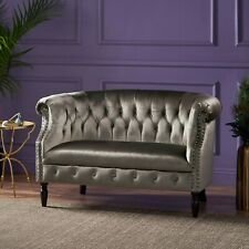 Melaina Chesterfield Button Tufted Scroll Arm Velvet Loveseat with Nailhead Trim