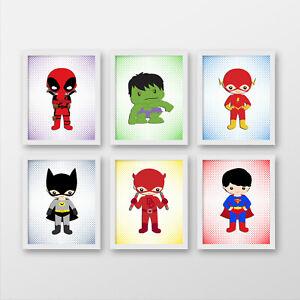 Superheroes wall prints, Superheroes nursery wall decor, Superhero posters