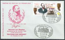 BRD Brief MiNr 1912 (PMR Nr 1f) 100.Todestag Heinrich von  Stephan -Freimaurer-