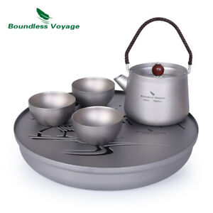 Camping Tea Set for Loose Tea Titanium Chinese Kung Fu Tea Tray Kettle Cup Set