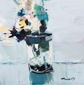 JOSE TRUJILLO Oil Painting IMPRESSIONISM 12X12 FLOWERS STILL LIFE ORIGINAL ART