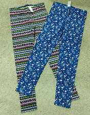 Lot x2 Old Navy Girls Leggings-Blue/Pink Paisley/Striped/Print-Full Length-XL 14