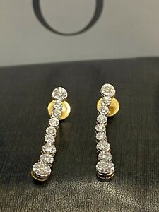 0.62 Cts Round Brilliant Cut Natural Diamonds Dangle Earrings In 585 14K Gold