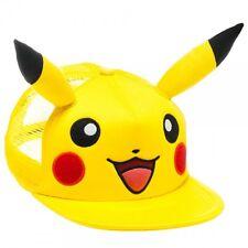 POKEMON PIKACHU BIG FACE MESH TRUCKER SNAPBACK HAT CAP ADJUSTABLE WITH EARS NWT