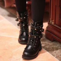 Ladies Leather Lace Up Ankle Martin Boots Mid Calf Combat Military Shoes Fashion