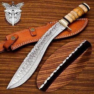 BEAUTIFUL CUSTOM HAND MADE DAMASCUS STEEL KUKRI KNIFE HANDLE  ORANGE CAMEL BONE