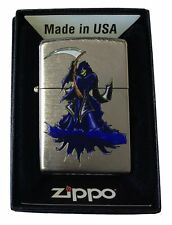 Zippo Custom Lighter Skull Grim Reaper Angel of Death Sythe Chrome Arch New