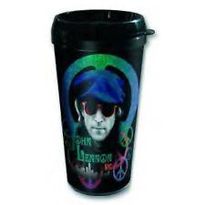 John Lennon Beret Photo Black Plastic Vacuum Travel Coffee Mug 100% Official