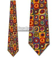 Kandinsky Concentric Circles Tie Art Neckties Mens Abstract Painting Tie NWT