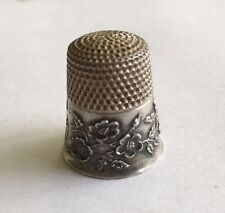 Antique Vintage Sterling Ketcham & McDougall Thimble With Flowers