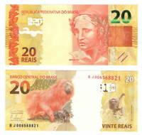 BRAZIL UNC 20 Reais Banknote (2010) P-255a Mantega-Tombini Signature Paper Money