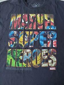 Marvel Super Heros Short Sleeve T Shirt Men's Size 2XL Universal Studios Black