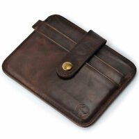 Mens Genuine Leather Money Clip Wallet ID Credit Card Holder Case Key Ring Brown