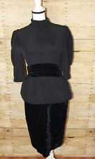 ESCADA by Margaretha Ley Vintage Black Velvet Silk Dress Women's Size 42