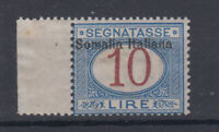 COLONIE SOMALIA 1909 SEGNATASSE 10 LIRE N.22 G.I MNH** BORDO FOGLIO