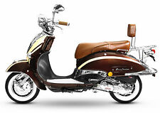 Retro Roller Mofa 25 45 KmH Motorroller 50 ccm braun/beige ARTEMIS BASIC EURO 4