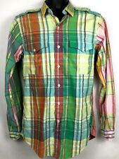 Ralph Lauren Polo military fit pony mens l/s button front shirt Small multicolor