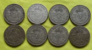 8x 1937 38-39-40-41-42-43 1945 UK Silver FLORINS coin George VI (1936 - 1952)