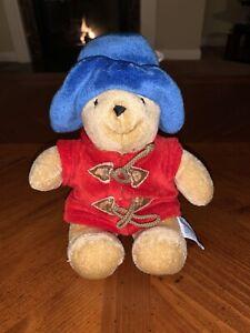 "Vintage 8"" EDEN Paddington BEAR Stuffed Animal Felt Blue Coat Red Hat 1975,1988"