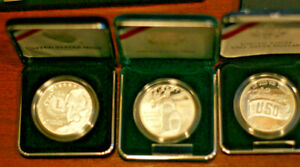 3 SILVER Proof Community Service Coins, Lions Club, USO, National. US MINT
