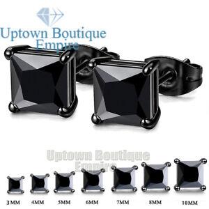 Men Women's 925 Sterling Silver Black Rhodium Square Stud Earrings 2,3,4,5,6,7mm