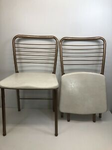 Vintage Mid Century 1950s Cosco Folding Chairs Gatefold Gold (Set Of 2)