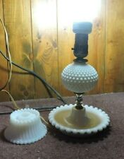 VINTAGE Fenton White Hobnail Milk Glass Table Lamp and Candle Stick Holder