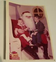 vintage Christmas Photograph Mall Santa Claus Kids Children Photo boy girl 1980s