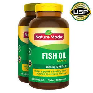 (2 PACK) Nature Made Fish Oil 1200mg Omega-3 360mg, 200 Softgels, USA Import