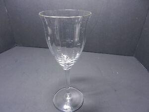 "Gorham Crystal Laurin Wine Stem Clear Optic Gold Trim 7 1/4"" T ca 1982-99 TM"