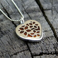 Koa Wood Hawaii Jewelry Flower Heart Silver Rhodium Plated Brass Pendant BRP1051
