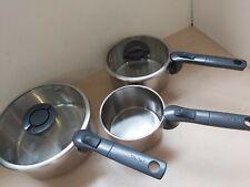 Set 3 High Quality Tefal Saucepans 15,19&23cm Fold in Handles Easy Storage 22A