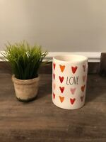 Rae Dunn LOVE Candle With Hearts Valentines Day Bergamot Rose Scent