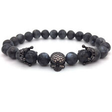 Mens Black Marble Stone Beads Black Skull Crown Spacer Bracelet - MB0042
