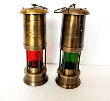 Oil Lamp Lantern 10 Inch Miner Antique Finish Brass Set Of 2 Pcs Gift