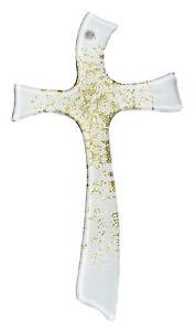 Crocifisso moderno da parete in vetro bianco finitura color oro cm 21x12 CL154